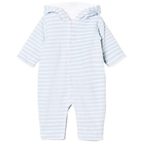 Kissy Kissy Blue Stripe Velour Hooded Onesie with Ears LB