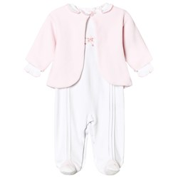 Kissy Kissy White and Pink Rose Embroidered Jersey Babygrow and Velour Jacket Footed Baby Body Set