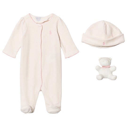 Ralph Lauren Petal Pink Long Sleeve Babygrow with Hat Gift Box Set 001