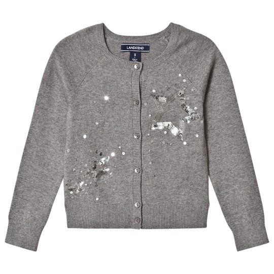 Lands' End Dark Grey Sparkling Star Embellished Sophie Cardigan Sparkling Star 5DW