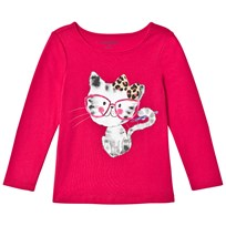 Lands End Red Smarty Cat Long Sleeve Graphic Tee Smarty Cat T2N