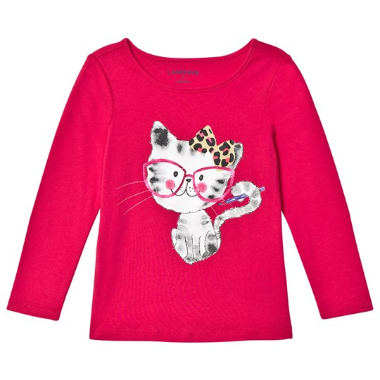 Lands' End Red Smarty Cat Long Sleeve Graphic Tee Smarty Cat T2N