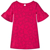 Lands End Hot Pink Star Pattern Bell Sleeve Ponte Dress Spiced Berry Star 4ZV