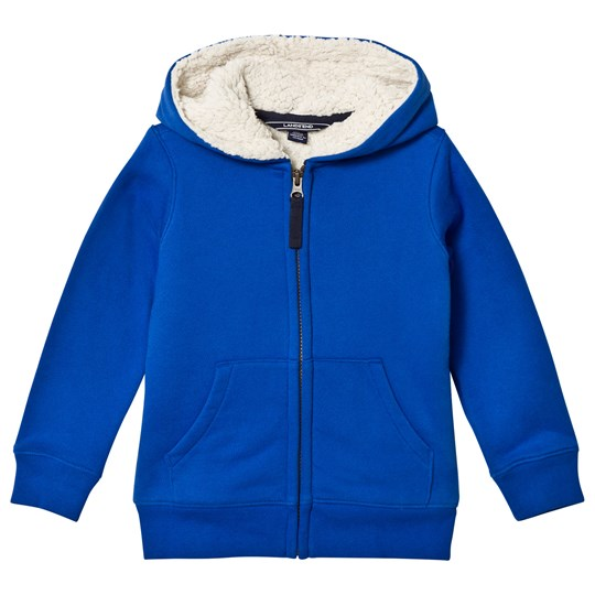 Lands' End Blue Solid Sherpa Lined Hoodie Cobalt Blue CBZ