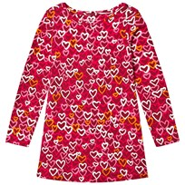 Lands End Red Cardinal Hearts Pattern Knit Twirl Dress Rich Red Cardinal Hearts 5AL