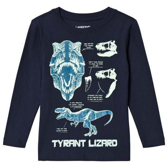 Lands' End Dark Navy Glow in The Dark Dinos Graphic Tee T-Rex Facts 5MF
