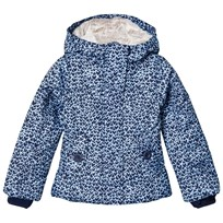 Lands End Navy Fleece Lined Hearts Printed Jacket Deep Sea Hearts 4SM
