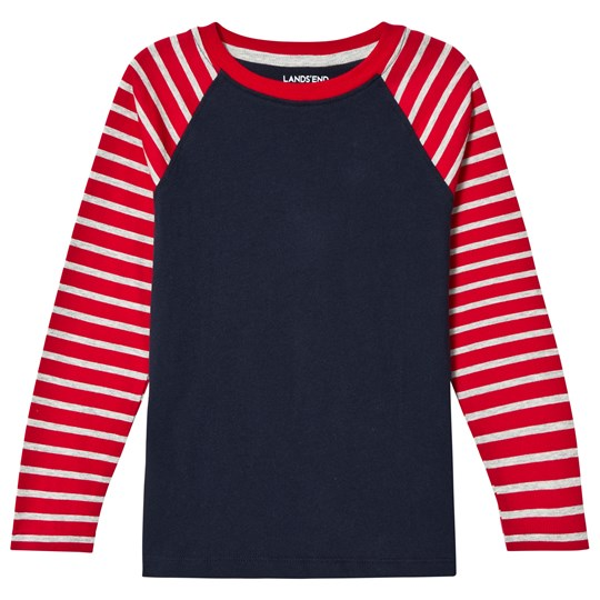 Lands' End Red Stripe Long Sleeve Raglan Tee Rich Red Stripe ZAY