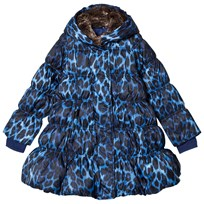 Lands End Blue Leopard A-Line Down Coat Cool Blue Leopard 4U1