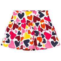Lands End White Multi Hearts Print Pattern Knit Skort Multi Hearts 1UU