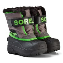 Sorel Childrens Snow Commander™ Boots Quarry/Cyber Green Quarry Cyber Grey