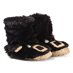 Hatley Black Bear Fuzzy Slouch Slippers