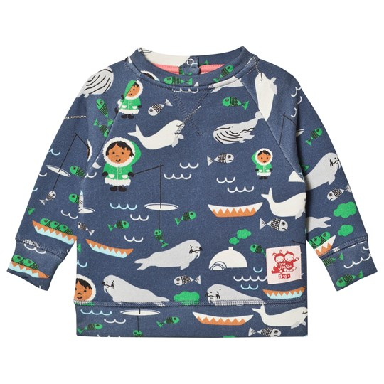 Tootsa MacGinty Navy Fish Print All Over Sweatshirt True Navy
