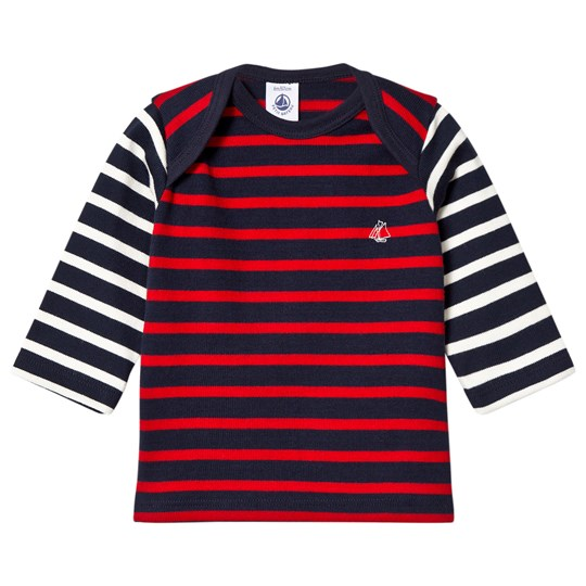 Petit Bateau Fine Knitted Sweater Marine Red Blue