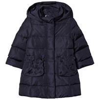 Il Gufo Navy Down Long Line Hooded Coat with Flower Applique Detail 495