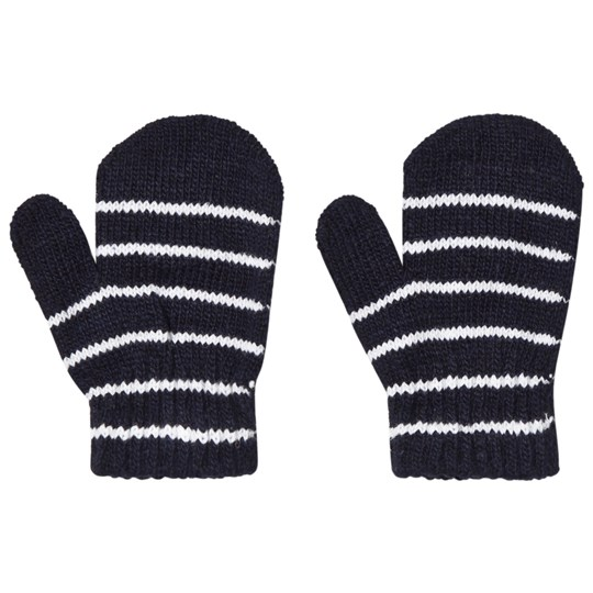 Lindberg Magic Wool Stripe Mittens Navy Blue