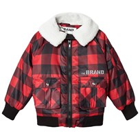 The BRAND Shearling Pilot Jacket Red Check Red Checked Flanell With Fake Sherling Collar