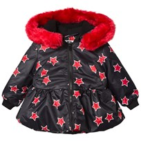The BRAND Peplum Allstar Jacket with Red Fur Trim Red Allstar With Red Fur