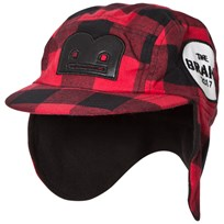 The BRAND Flannel B-Moji Winter Cap Red Check Red Checked Flanell With B-Moji