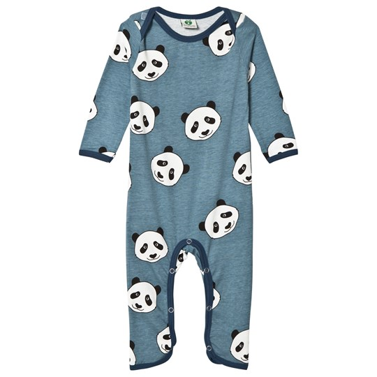 Småfolk Blue Panda Print One-Piece Bluestone-709