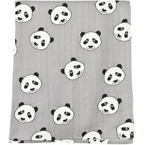 Småfolk Grey Panda Print Swaddle Blanket Wilde Dove-234