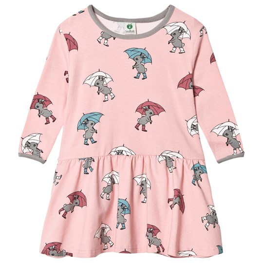 Småfolk Pink Rabbit Umbrella Print Dress Silver Pink-508