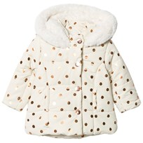 Absorba Cream and Gold Spot Padded Coat with Fleece Lining 12