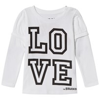 The BRAND Love Kiss Tee White White With Black Sleeve