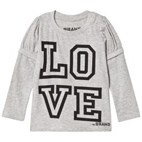 The BRAND Love Kiss Tee Grey Melange Grey Melange With Black Sleeves