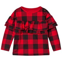The BRAND Sleeve Wave Top Red Checkeredd Red Checked