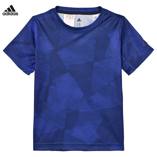 adidas Performance Navy and Blue Print Tee Collegiate Navy