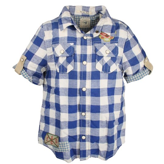 Scotch & Soda Short Sleeve Check Shirt Blue