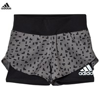 adidas Performance Grey Printed Running Shorts GREY FOUR F17/BLACK