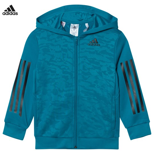 adidas Performance Teal Training Full Zip Hoodie MYSTERY PETROL F17