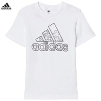 adidas Performance White Branded Drawable Kids Tee White/Black