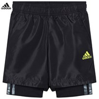 adidas Performance Black Kids Training Shorts BLACK/BLACK/SEMI SOLAR YELLOW