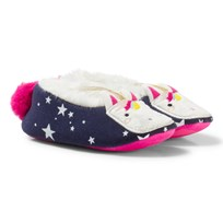 Tom Joule Navy Unicorn Applique and Pom Pom Slippers FRENCH NAVY UNICORN