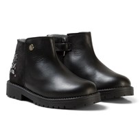 Stuart Weitzman Black Leather Jewel Ankle Boots Black