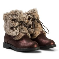 Stuart Weitzman Copper Shimmer Faux Fur Boots Copper
