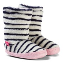 Tom Joule Padabout Fleece Slipper Socks Navy/Cream Stripe FRENCH NAVY STRIPE