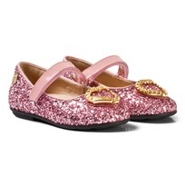 Moschino Kid-Teen Pink Glitter and Patent Leather Heart Pumps Pinkki