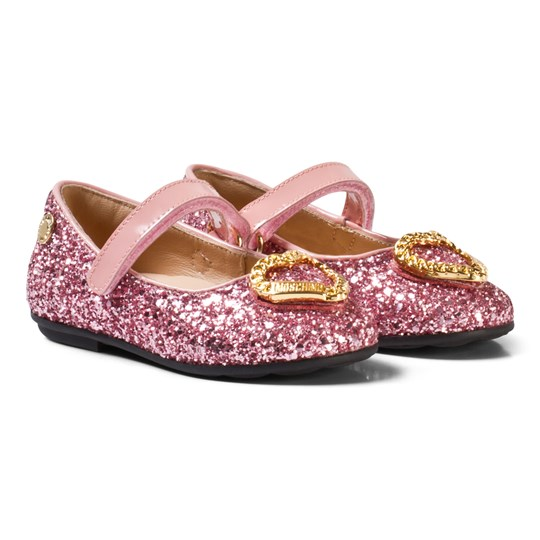 Moschino Kid-Teen Pink Glitter and Patent Leather Heart Pumps Rosa