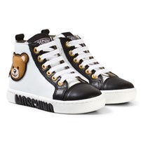 Moschino Kid-Teen White and Black Bear Print Zip Trainers NERO-BLANCO