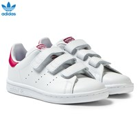 adidas Originals White and Pink Kids 3V Stan Smith Trainers FTWR WHITE