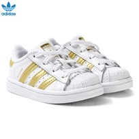 adidas Originals White and Gold Superstar Infant Trainers FTWR WHITE