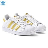 adidas Originals White and Gold Superstar Kids Trainers FTWR WHITE