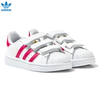 adidas Originals White and Pink Superstar Velcro Trainers FTWR WHITE