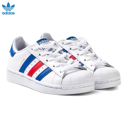 adidas Originals Superstar Kids Trainers Vit, Marinblå och Röd FTWR WHITE