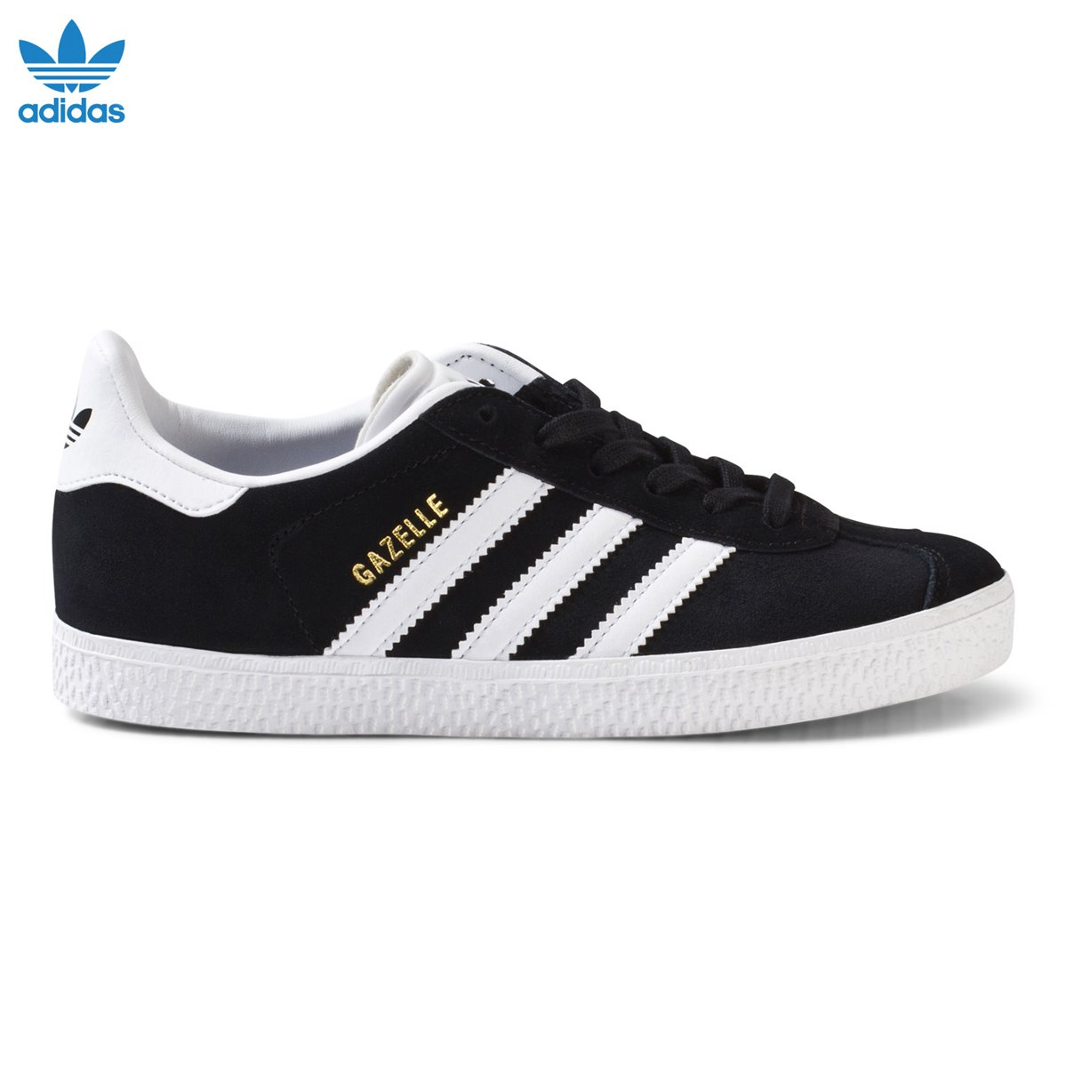 Black and White Gazelle Kids Trainers