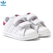 adidas Originals White and Pink Stan Smith Infant Trainers FTWR WHITE/FTWR WHITE/BOLD PINK